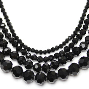 Multi-pack - Glass Faceted Round Black (sizes 3mm , 4mm , 6mm , 8mm )