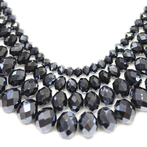 Multi-pack - Glass Faceted Rondell Black Luster (sizes 3x4mm , 4x6mm , 6x8mm , 8x10mm )Beads by Halcraft Collection