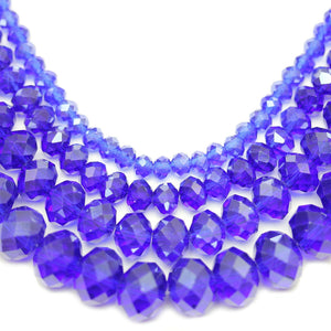 Multi-pack - Glass Faceted Rondell Dark Sapphire Luster (sizes 3x4mm , 4x6mm , 6x8mm , 8x10mm )Beads by Halcraft Collection