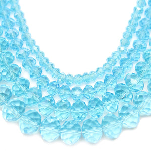 Multi-pack - Glass Faceted Rondell Aqua Luster (sizes 3x4mm , 4x6mm , 6x8mm , 8x10mm )Beads by Halcraft Collection
