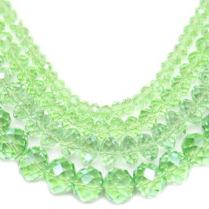 Multi-pack - Glass Faceted Rondell Light Green Luster (sizes 3x4mm , 4x6mm , 6x8mm , 8x10mm )