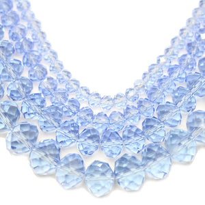 Multi-pack - Glass Faceted Rondell Light Sapphire Luster (sizes 3x4mm , 4x6mm , 6x8mm , 8x10mm )Beads by Halcraft Collection