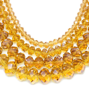 Multi-pack - Glass Faceted Rondell Light Amber Luster (sizes 3x4mm , 4x6mm , 6x8mm , 8x10mm )Beads by Halcraft Collection