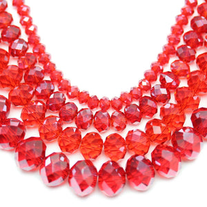 Multi-pack - Glass Faceted Rondell Red Luster (sizes 3x4mm , 4x6mm , 6x8mm , 8x10mm )Beads by Halcraft Collection