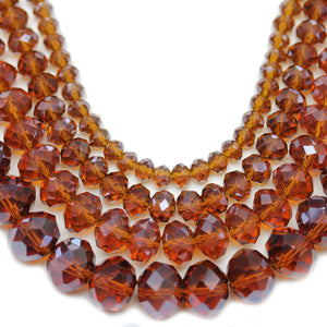 Multi-packs - Glass Faceted Rondell Amber Luster (sizes 3x4mm, 4x6mm, 6x8mm, 8x10mm)