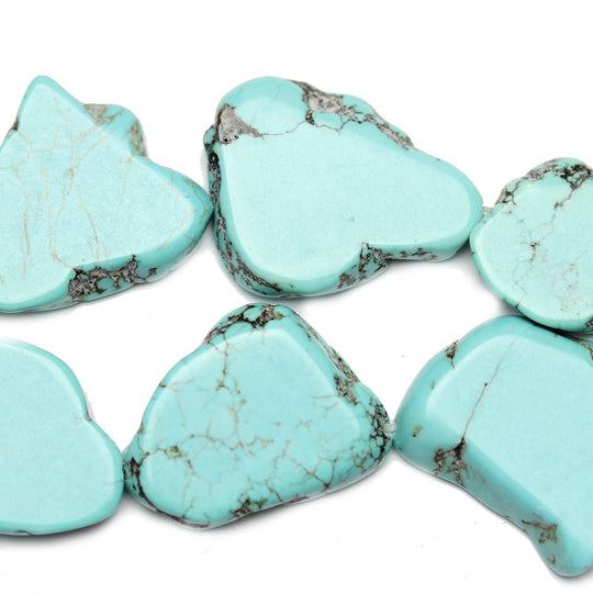 Semi Precious Howlite Dyed Turquoise Oval Slabs (Hole Through Length) 30x40mm  Approx.