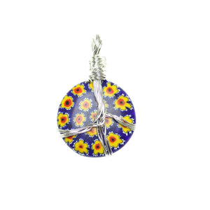 Blue & Yellow Italian Murano Millefiori Glass Pendant Fabricated in India by Hand 28mm Pendant by Halcraft Collection