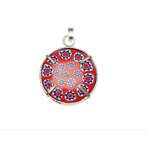 Red & Blue Italian Murano Millefiori Glass Pendant Fabricated in India by Hand 28mm Pendant by Halcraft Collection