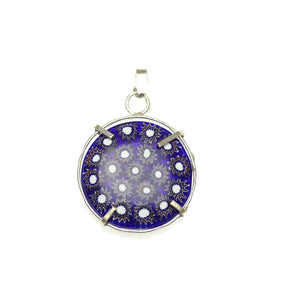Blue & White Italian Murano Millefiori Glass Pendant Fabricated in India by Hand 28mm Pendant by Halcraft Collection