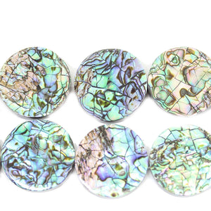 Philippine Abalone Shell Lentil 25-26mm Beads by Halcraft Collection