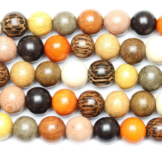 Philippine Multi Wood Round Beads 11-12mm
