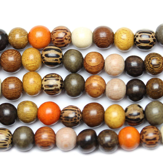 Philippine Multi Wood Round Beads 8-9mm