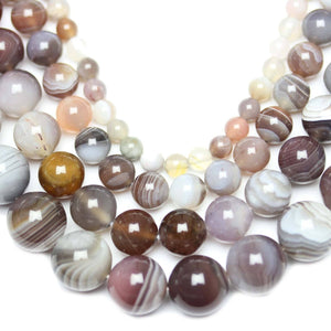 Multi-pack - Botswana Agate Round Stone Beads (sizes (4mm , 6mm , 8mm , 10mm )