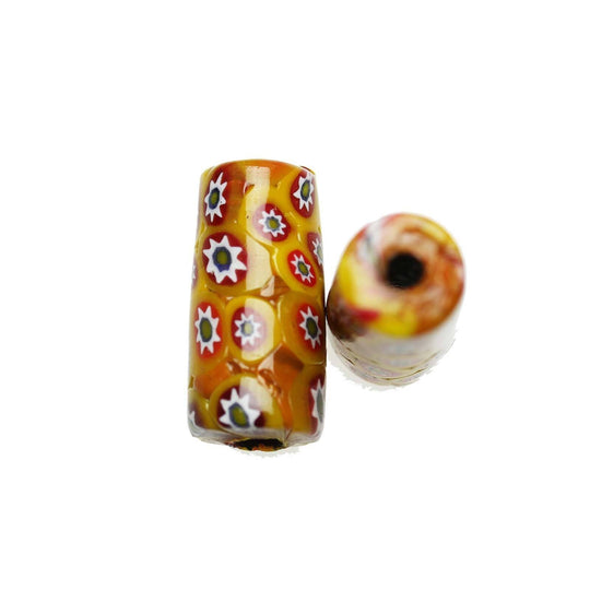 Yellow & Red Shiny Italian Murano Millefiori Glass Fabricated in India by Hand 13x27mm