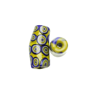 Yellow & Blue Shiny Italian Murano Millefiori Glass Fabricated in India by Hand 15x34mm
