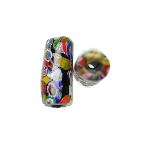 Multi Shiny Italian Murano Millefiori Glass Fabricated in India by Hand 15x34mm Beads by Halcraft Collection