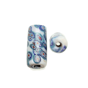 Aqua & White Shiny Italian Murano Millefiori Glass Fabricated in India by Hand 15x34mm Beads by Halcraft Collection