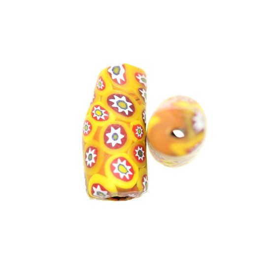 Yellow & Red Matt Italian Murano Millefiori Glass Fabricated in India by Hand 15x34mm