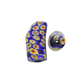 Blue & Yellow Matt Italian Murano Millefiori Glass Fabricated in India by Hand 15x34mm