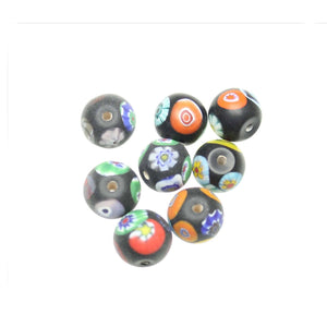 Black Matt Italian Murano Millefiori Glass Fabricated in India by Hand 13mm Beads by Halcraft Collection