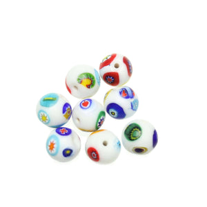White Shiny Italian Murano Millefiori Glass Fabricated in India by Hand 13mm Beads by Halcraft Collection