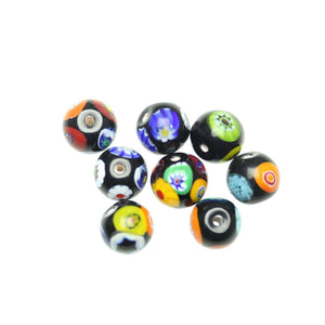 Black Shiny Italian Murano Millefiori Glass Fabricated in India by Hand 13mm Beads by Halcraft Collection