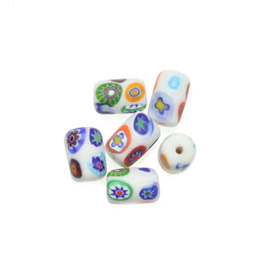 White Matt Italian Murano Millefiori Glass Fabricated in India by Hand 10x15mm Beads by Halcraft Collection