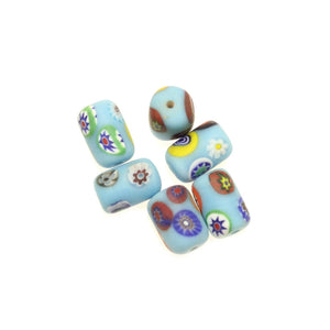 Aqua with White Matt Italian Murano Millefiori Glass Fabricated in India by Hand 10x15mm Beads by Halcraft Collection