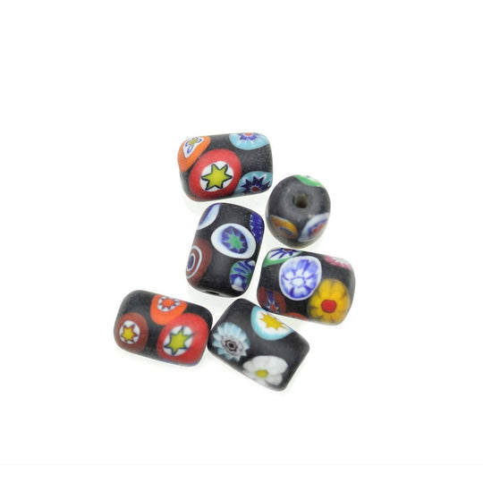 Black Matt Italian Murano Millefiori Glass Fabricated in India by Hand 10x15mm Beads by Halcraft Collection