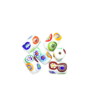 White Shiny Italian Murano Millefiori Glass Fabricated in India by Hand 10x15mm Beads by Halcraft Collection