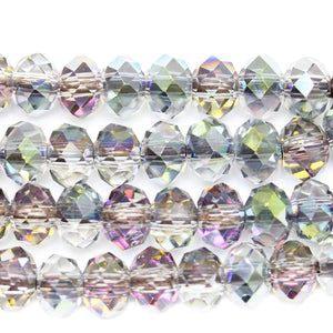 Bead, Beads, Glass, Glass Bead, Glass Beads, Rondell, Rondell Bead, Rondell Beads, Rondell Glass Bead, Faceted, Faceted Glass Bead, Faceted Bead, Large Hole, Large Hole Bead, Large Hole Glass Bead, Multi, Multi Bead, Multi Beads, Iris, Iris Coated, 8x12mm, 8mm, 12mm, GLASS5