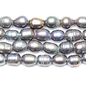 Black Dyed Fresh Water Pearls Large Hole (2.3mm ) Medium Large Oval