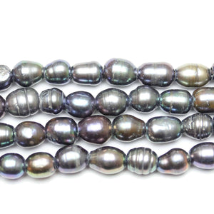 Black Dyed Fresh Water Pearls Large Hole (2.3mm ) Medium Oval
