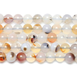 Translucent & Amber Natural Agate Polished Round Beads