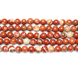 Natural Stone Red Jasper Polished 6mm  Round BeadsBeads by Halcraft Collection