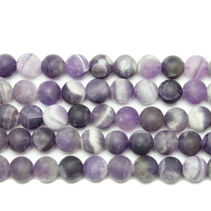 Natural Stone Dogtooth Amethyst (B Quality) Matte 8mm  Round Beads