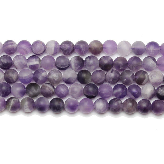 Natural Stone Dogtooth Amethyst (B Quality)Matte 6mm  Round BeadsBeads by Halcraft Collection