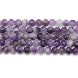Natural Stone Dogtooth Amethyst (B Quality)Matte 6mm  Round Beads
