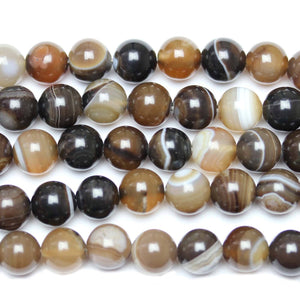 Natural Banded Agate Polished 10mm  Round Beads