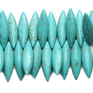 Turquoise Dyed Reconstituted Stone Oval Top Hole 8x30mm Beads