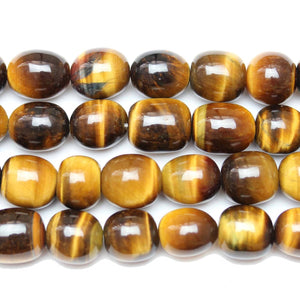Natural Stone Golden Tiger Eye (AA Quality) Barrel BeadsBeads by Halcraft Collection