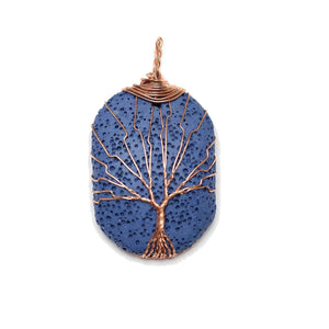 Copper Wire Tree Of Life Pendant on Blue Painted Lava Rock 30x40mm Pendant by Halcraft Collection
