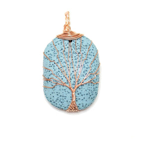Copper Wire Tree Of Life Pendant on Turquoise Blue Painted Lava Rock 30x40mm Pendant by Halcraft Collection
