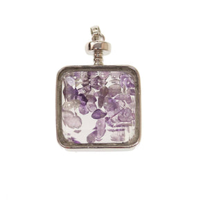 Natural Amethyst Stone Chips Enclosed In Glass Faceted Pendant Silver PlatedPendant by Bead Gallery