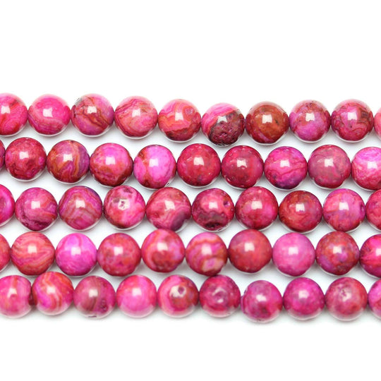 Magenta Dyed Agate Polished 8mm  Round Beads