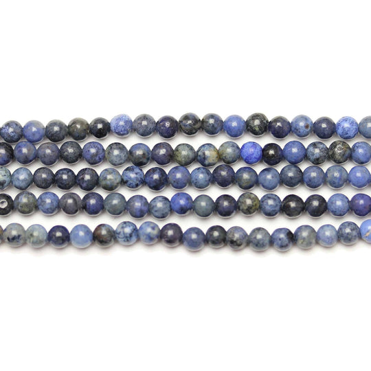 Natural Dumortierite Polished 4mm  Round Beads