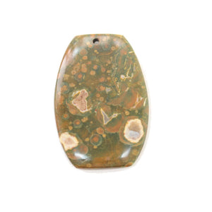 Carved and Polished Unakite Stone Pendant Flat End Oval 25x50mm Pendant by Bead Gallery