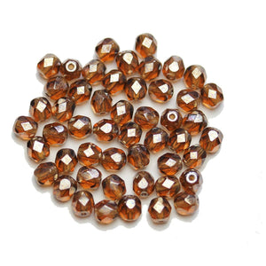 Amber Luster Glass Czech Round 5.5mm BeadsBeads by Halcraft Collection