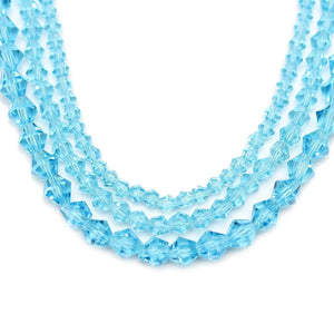 Multi-pack - Glass Beads Aqua Bicone (sizes 3mm , 4mm , 6mm )Beads by Halcraft Collection