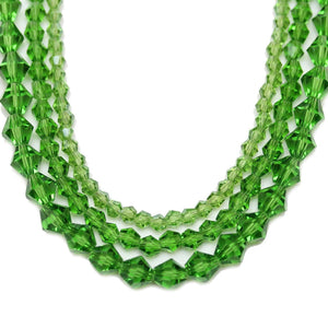 Multi-pack - Glass Beads Grass Green Bicone (sizes 3mm , 4mm , 6mm )Beads by Halcraft Collection